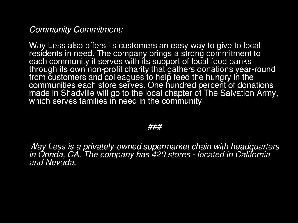 Community Commitment: