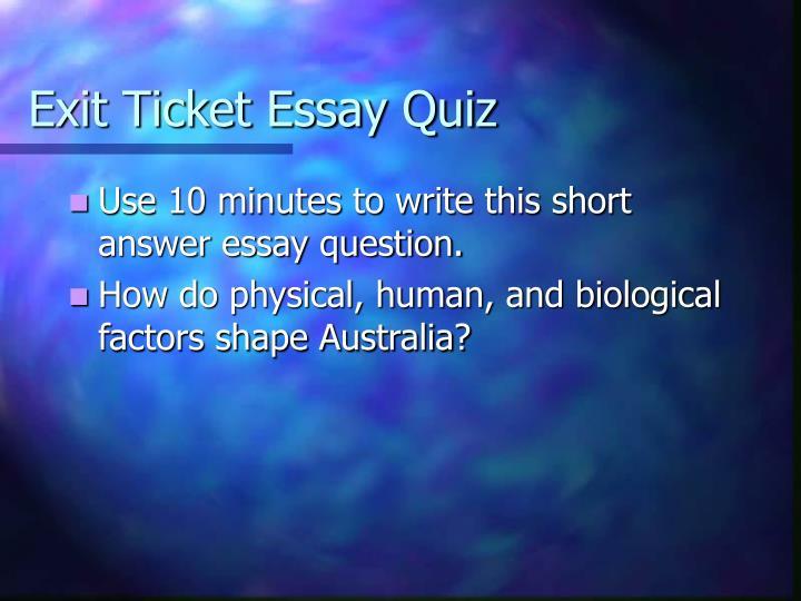 Exit Ticket Essay Quiz
