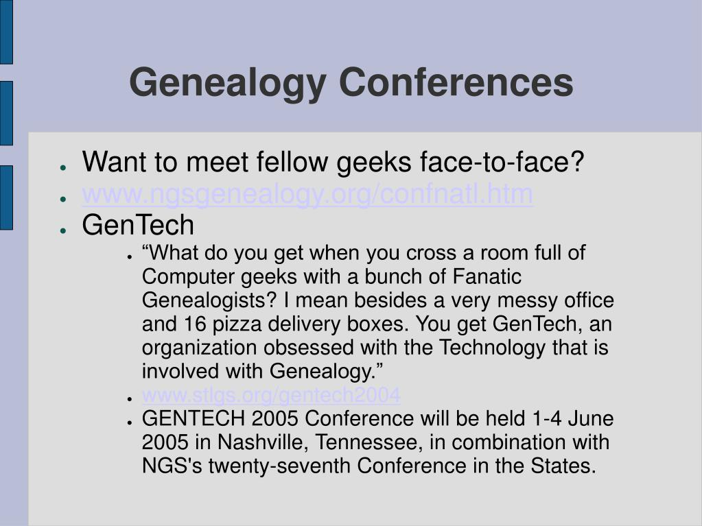 Genealogy Conferences