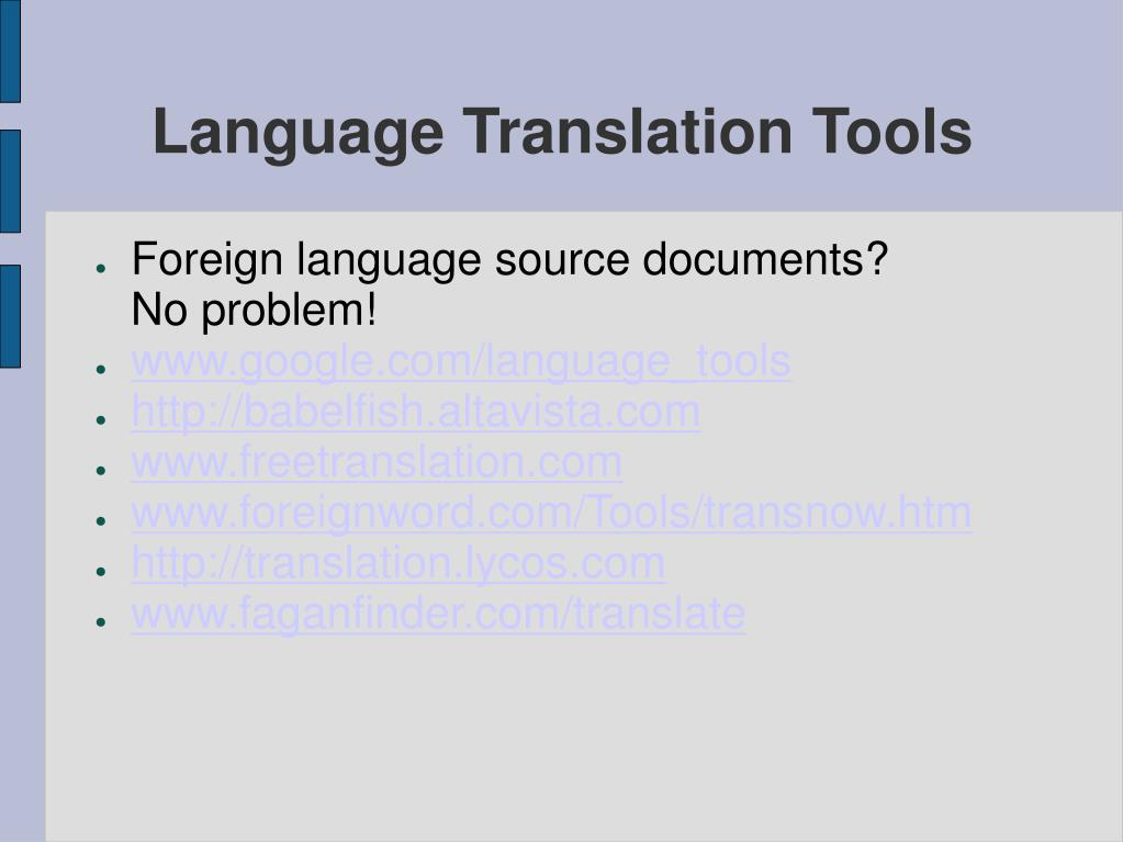 Language Translation Tools