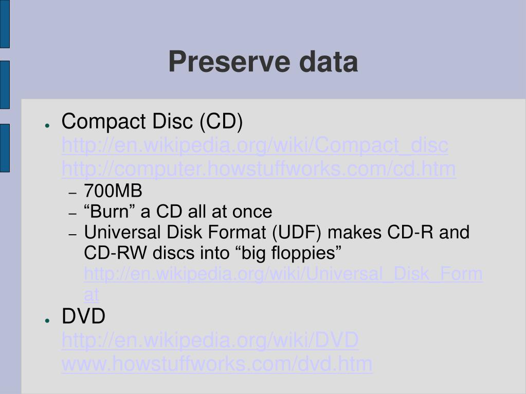 Preserve data