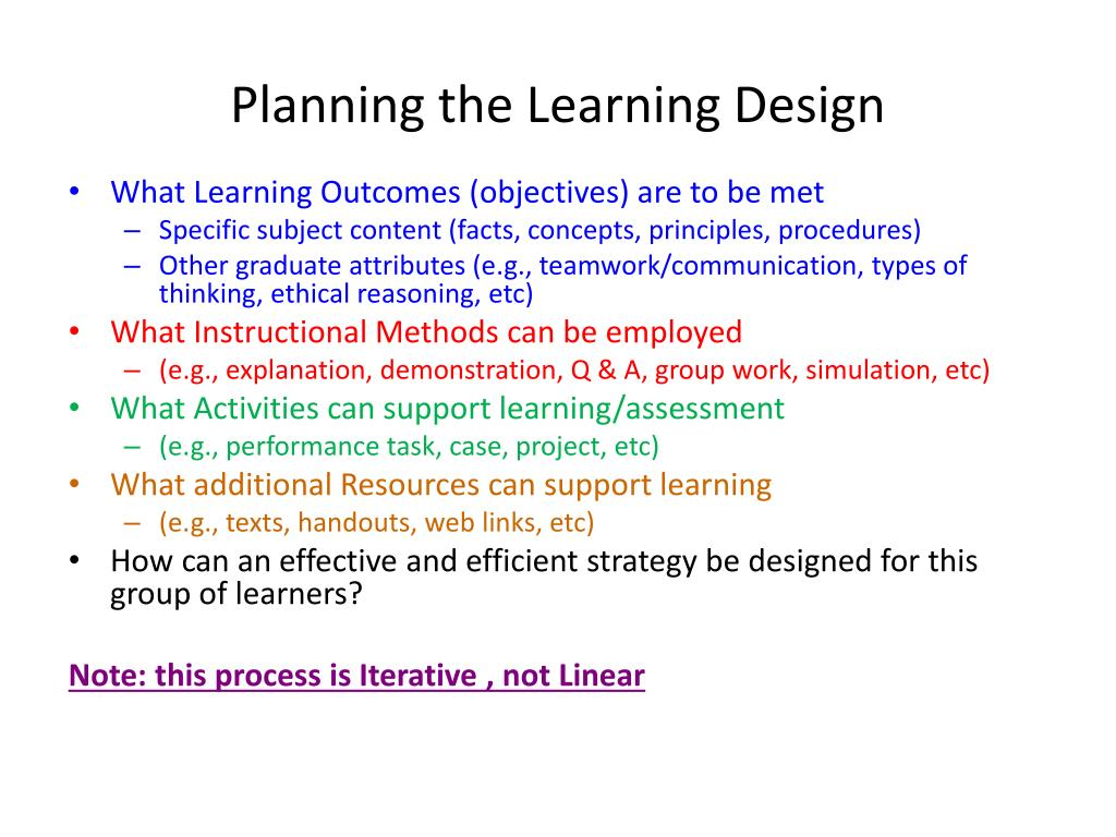 Planning the Learning Design