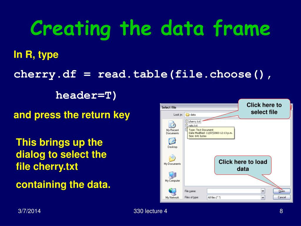 Creating the data frame