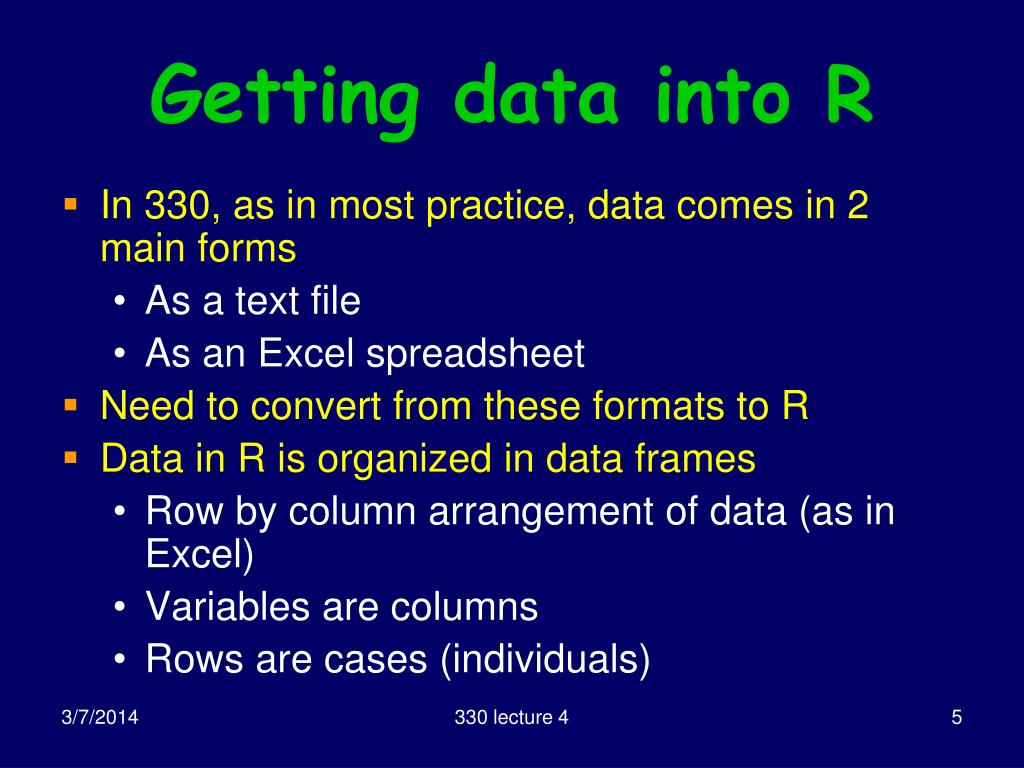 Getting data into R
