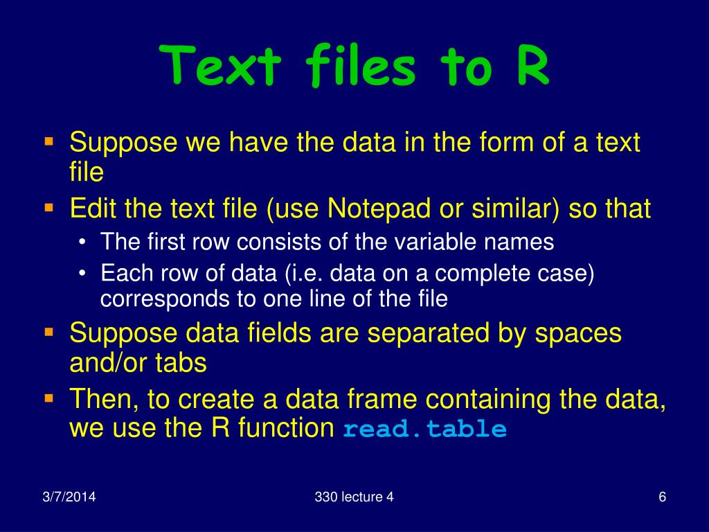 Text files to R