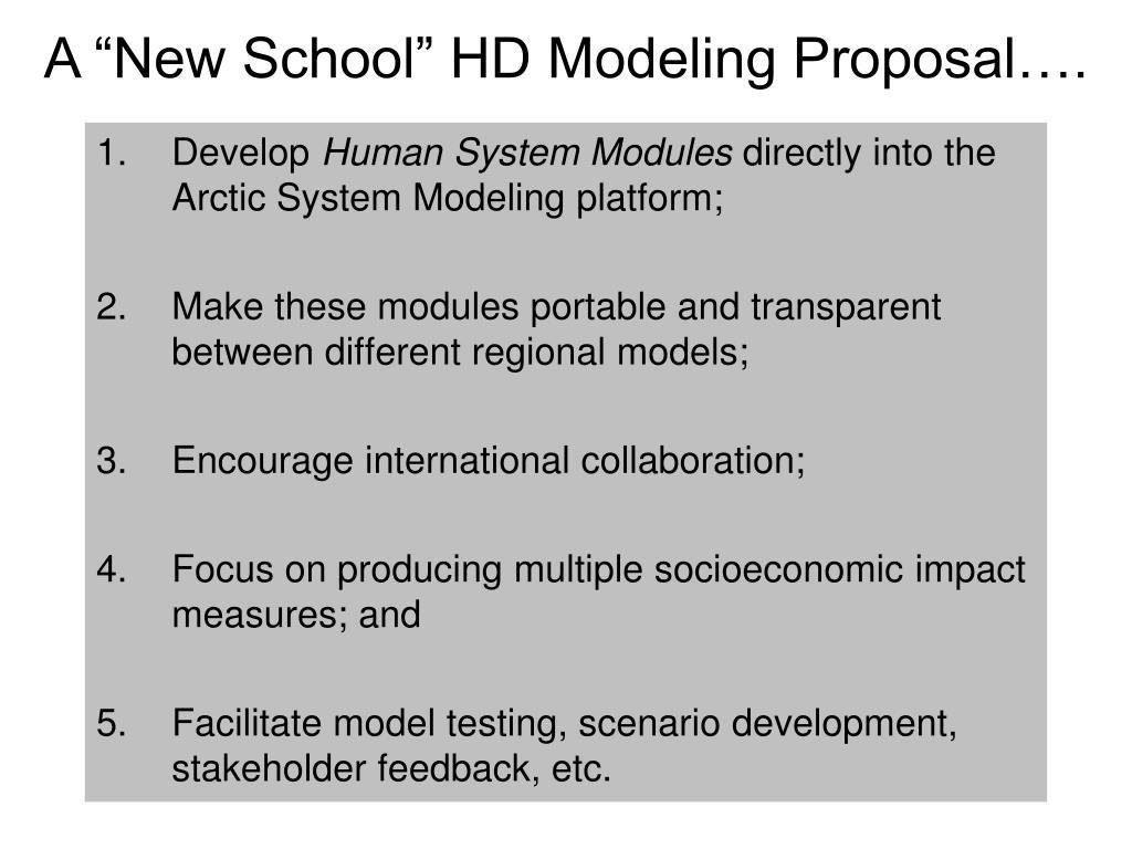 """A """"New School"""" HD Modeling Proposal…."""
