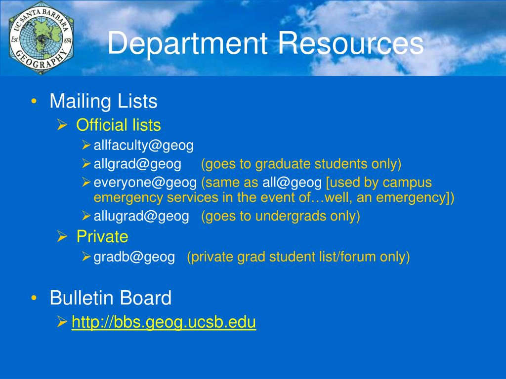 Department Resources