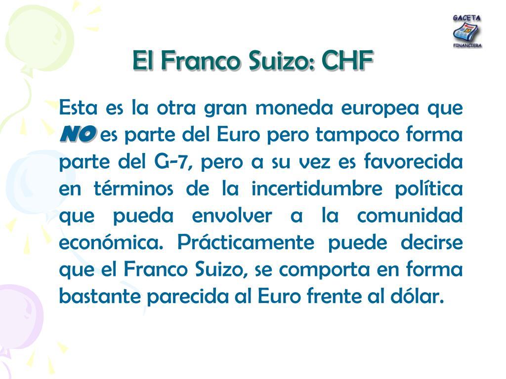 El Franco Suizo: CHF