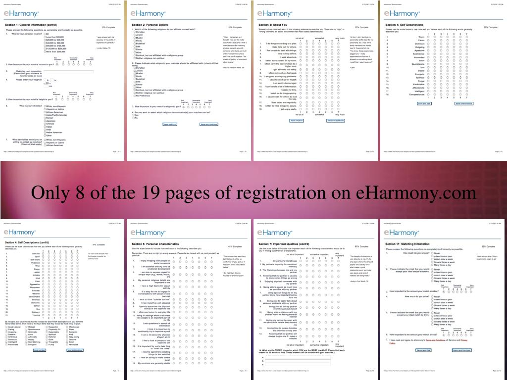 Only 8 of the 19 pages of registration on eHarmony.com