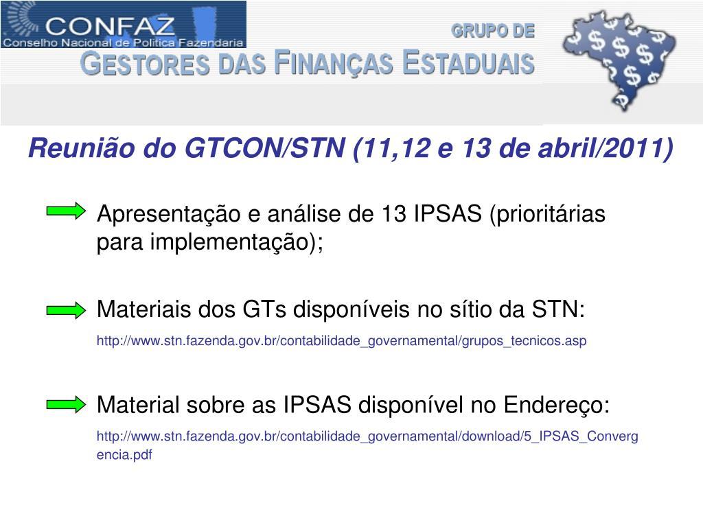 Reunião do GTCON/STN (11,12 e 13 de abril/2011)
