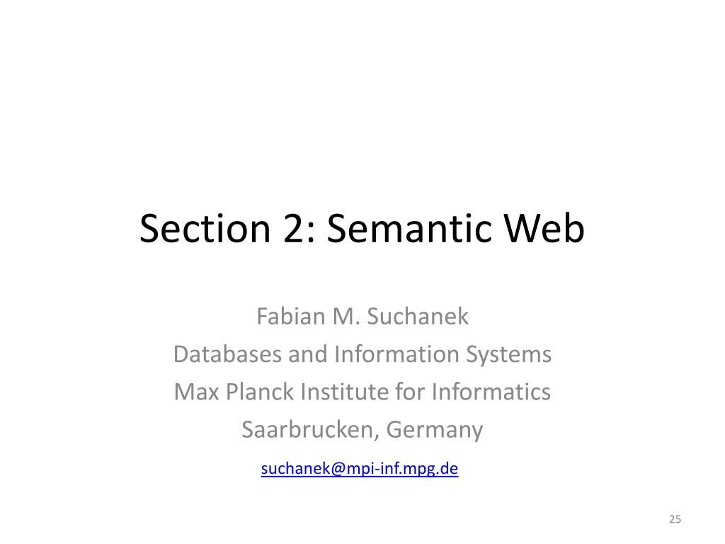 Section 2: Semantic Web