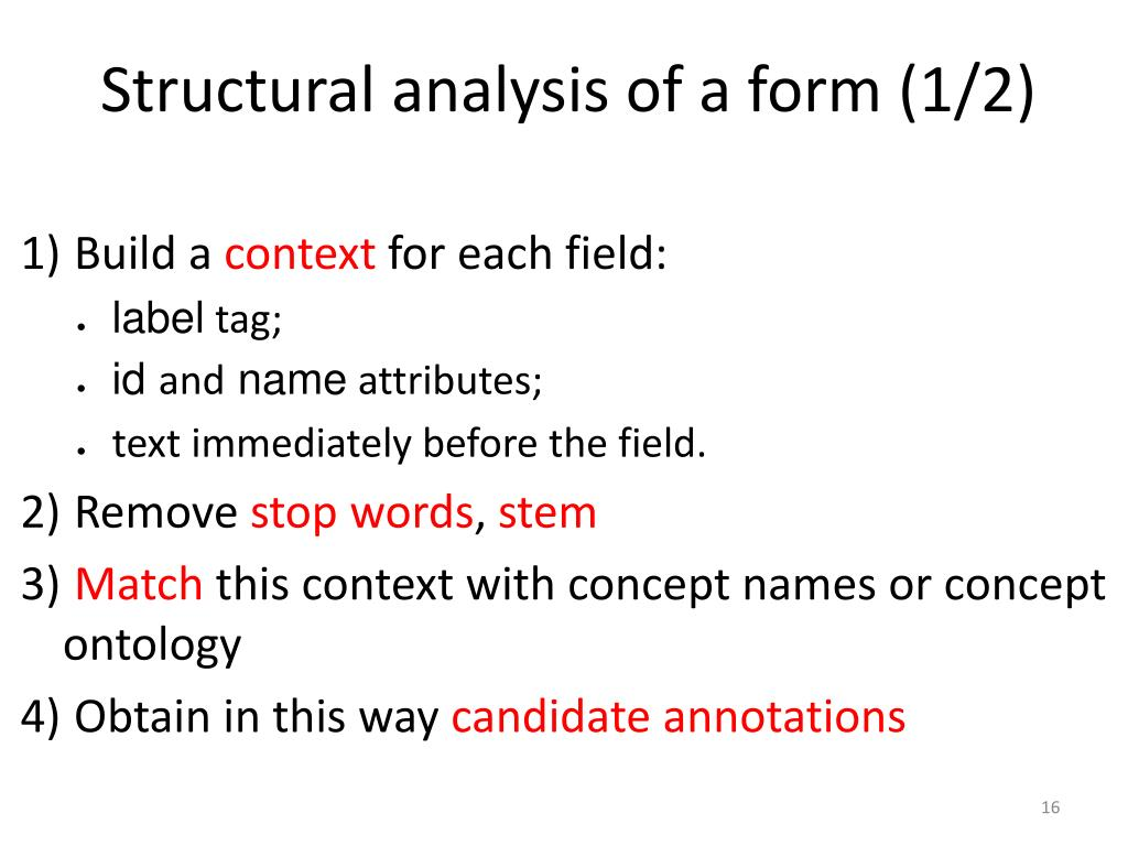 Structural analysis of a form (1/2)