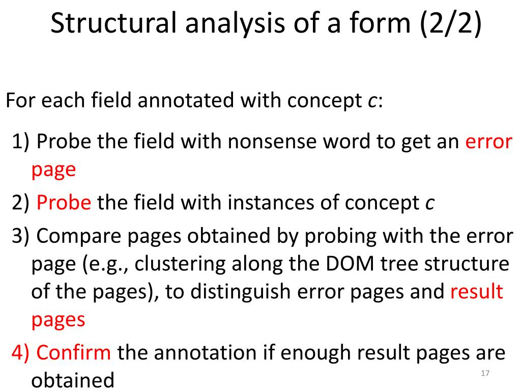 Structural analysis of a form (2/2)