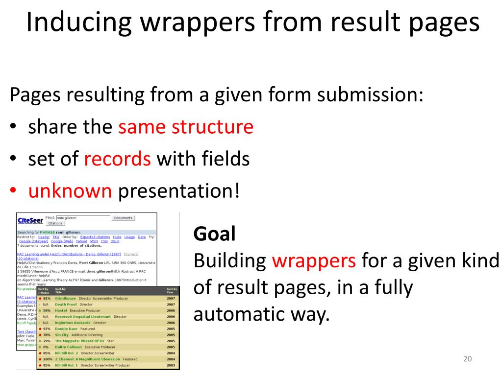Inducing wrappers from result pages