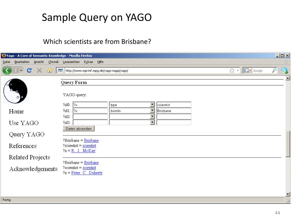 Sample Query on YAGO