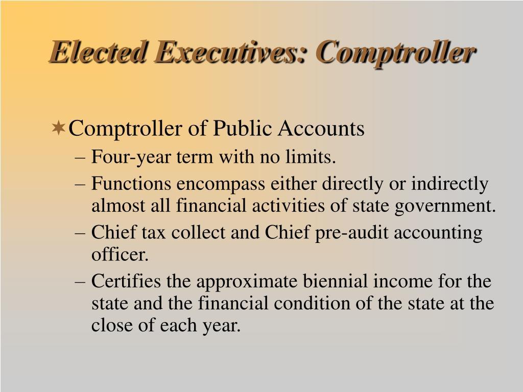 Elected Executives: Comptroller