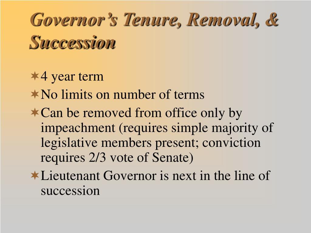 Governor's Tenure, Removal, & Succession
