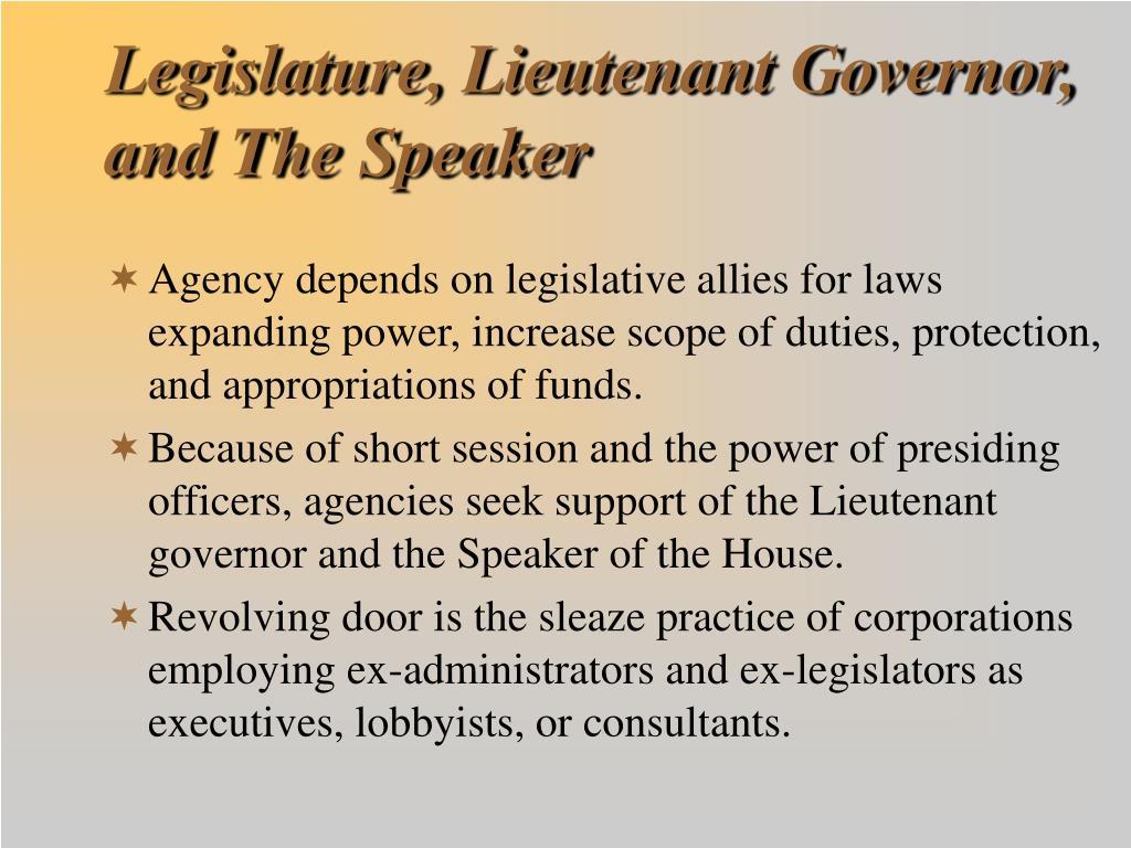 Legislature, Lieutenant Governor, and The Speaker
