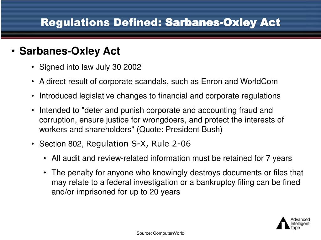 sarbane oxley act of 2002