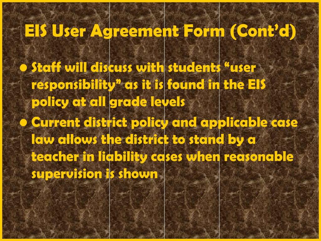 EIS User Agreement Form (Cont'd)
