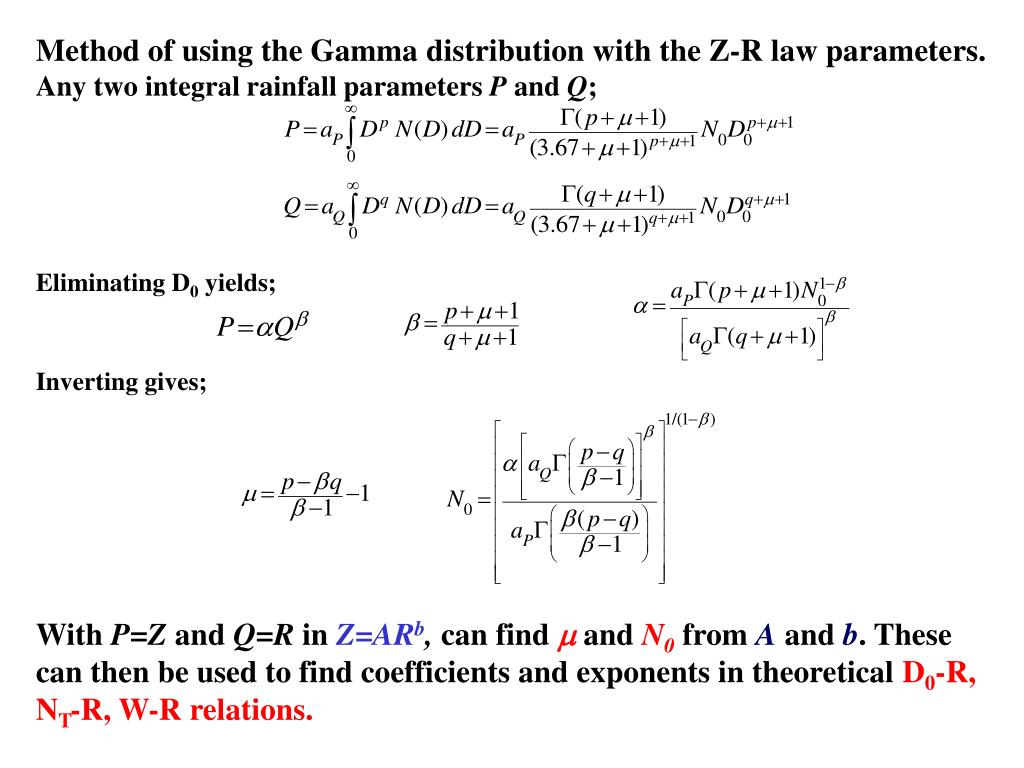 Method of using the Gamma distribution with the Z-R law parameters.