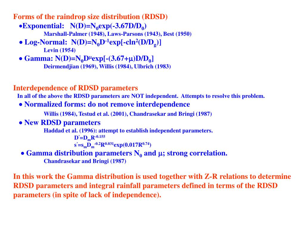 Forms of the raindrop size distribution (RDSD)