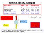 terminal velocity examples