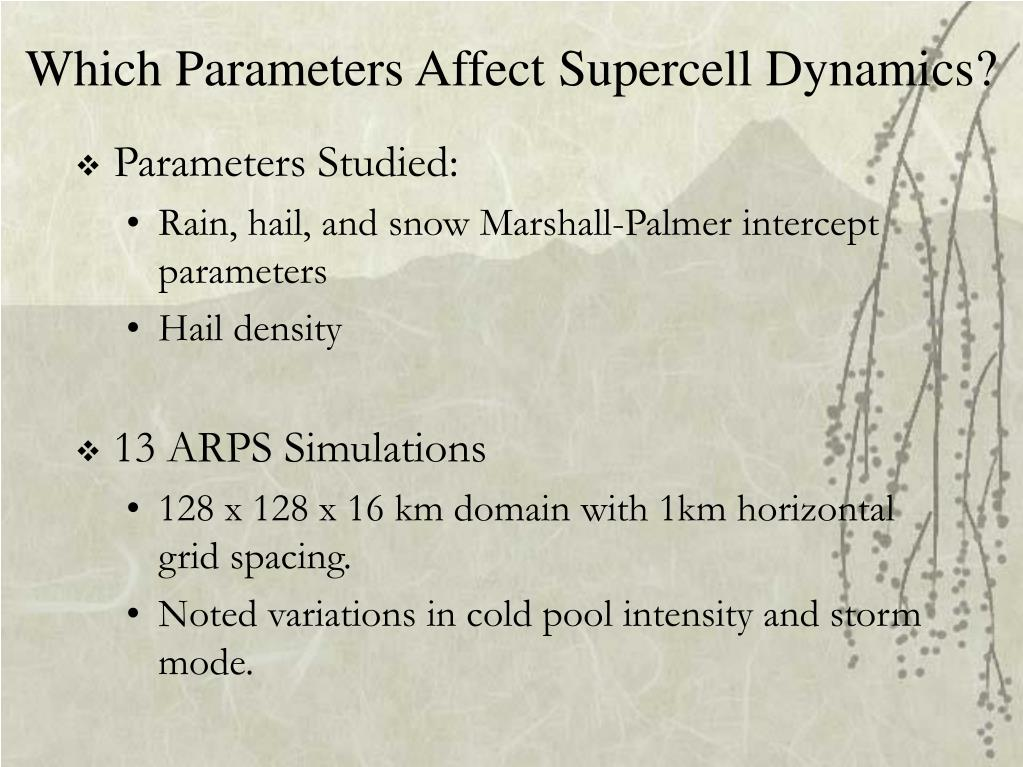 Which Parameters Affect Supercell Dynamics?