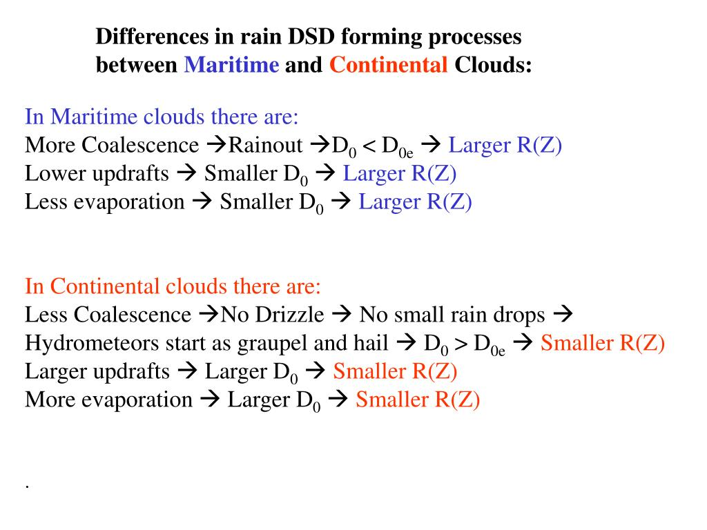Differences in rain DSD forming processes