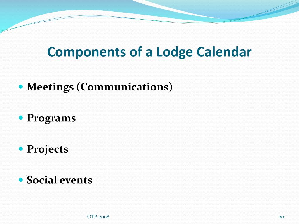 Components of a Lodge Calendar