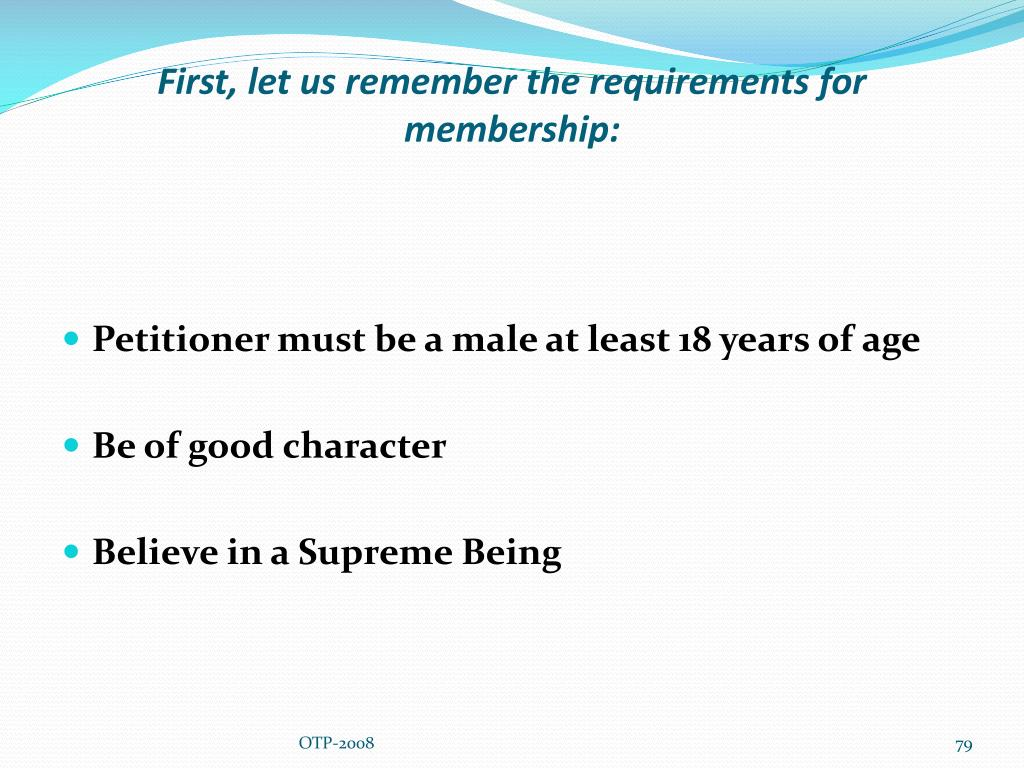 First, let us remember the requirements for membership: