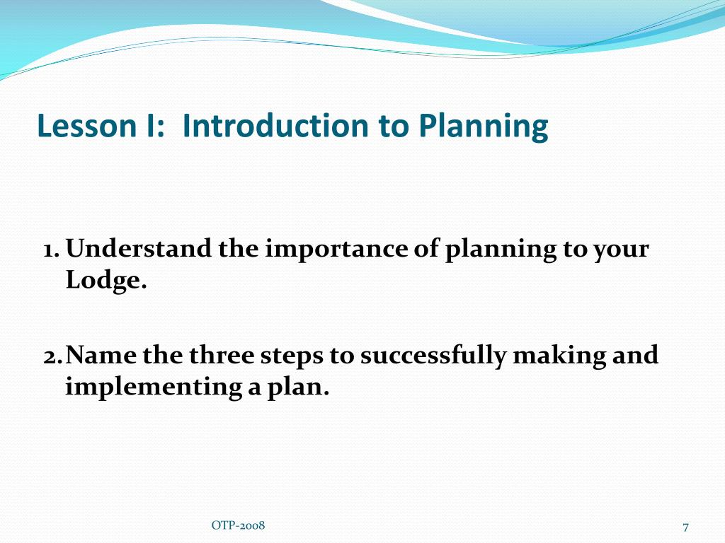 Lesson I:  Introduction to Planning