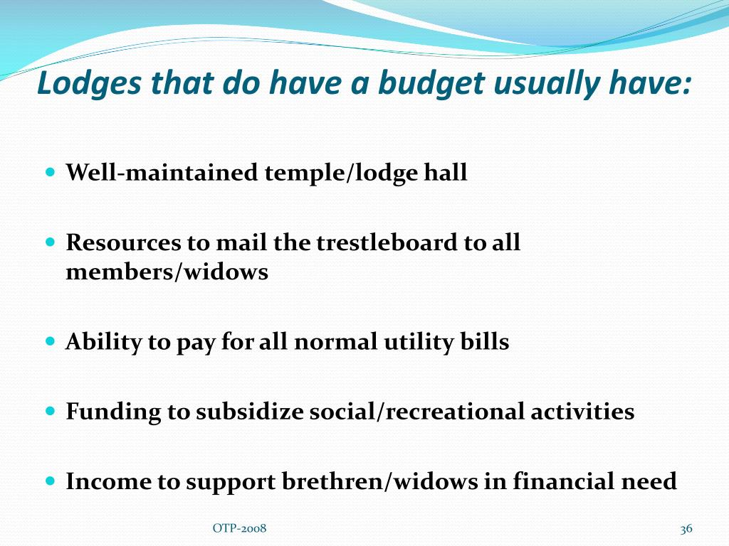 Lodges that do have a budget usually have: