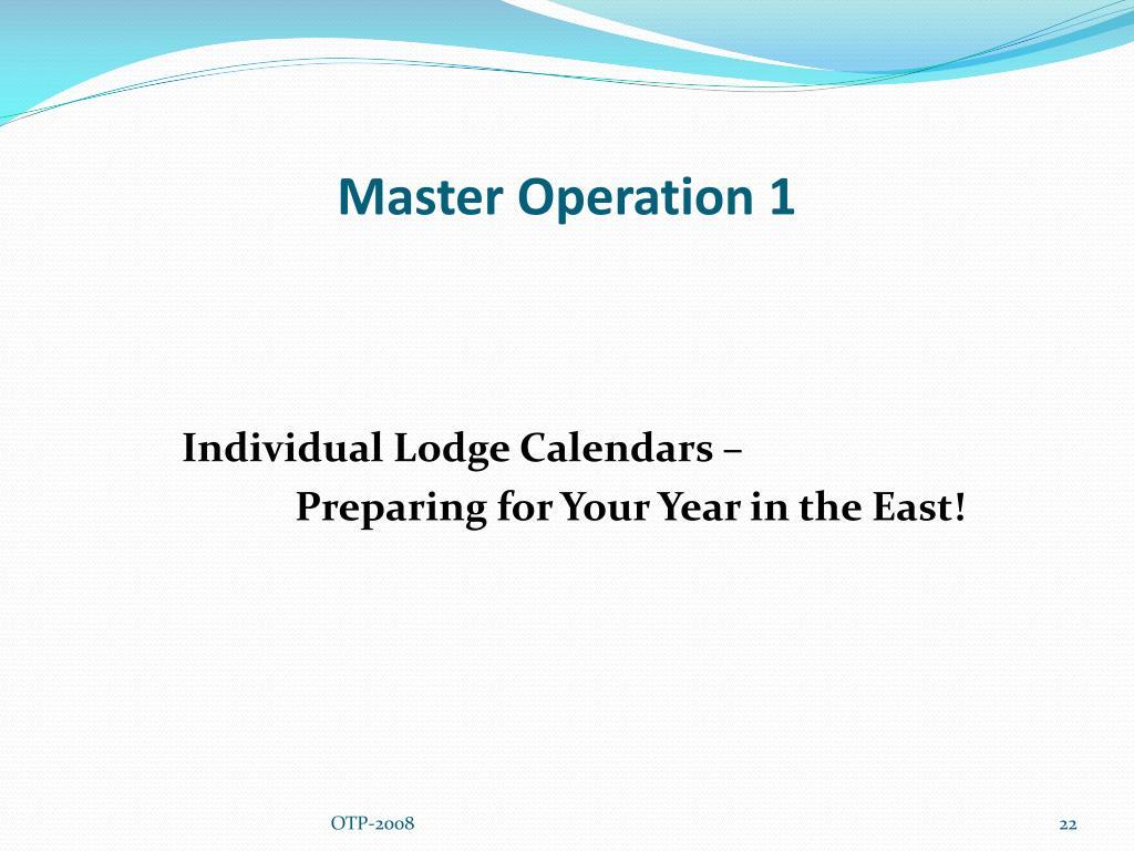 Master Operation 1