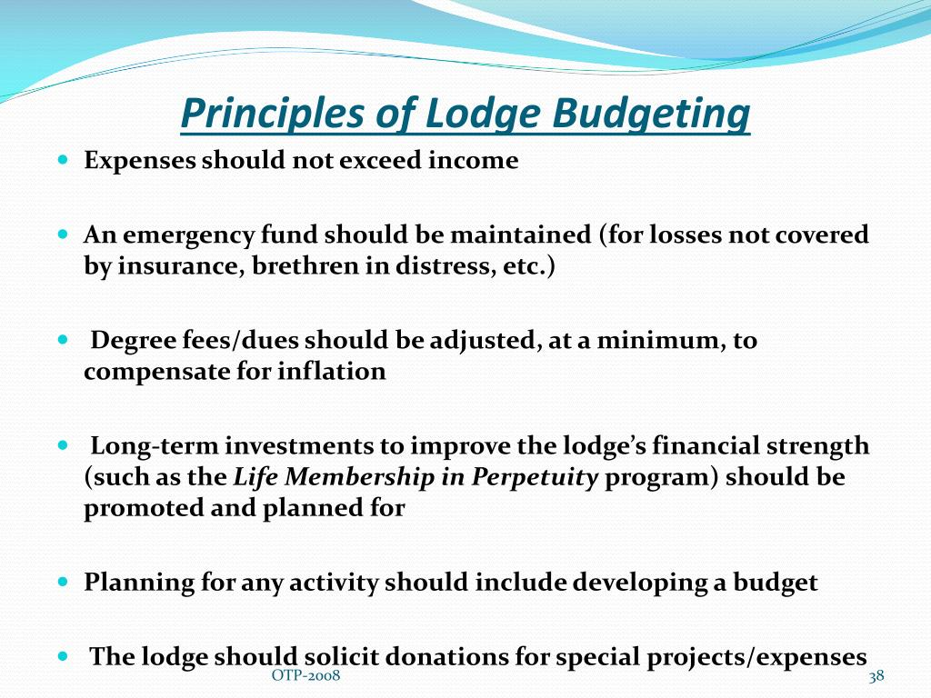 Principles of Lodge Budgeting