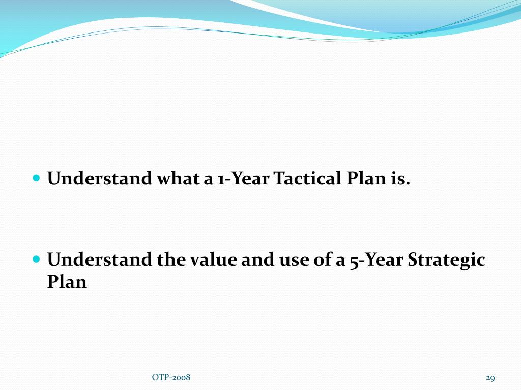 Understand what a 1-Year Tactical Plan is.