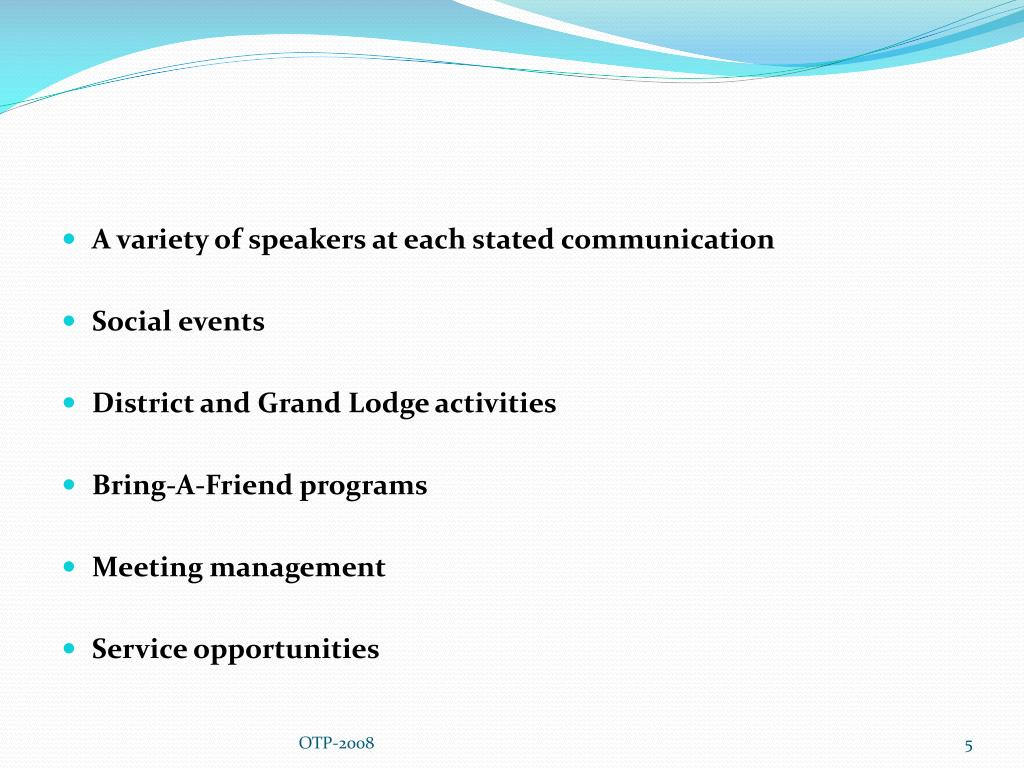 A variety of speakers at each stated communication