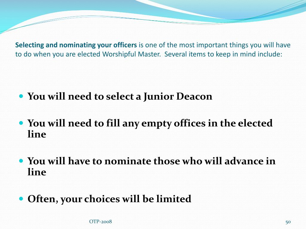 Selecting and nominating your officers