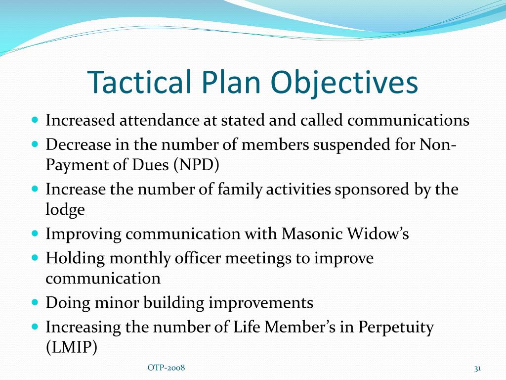 Tactical Plan Objectives