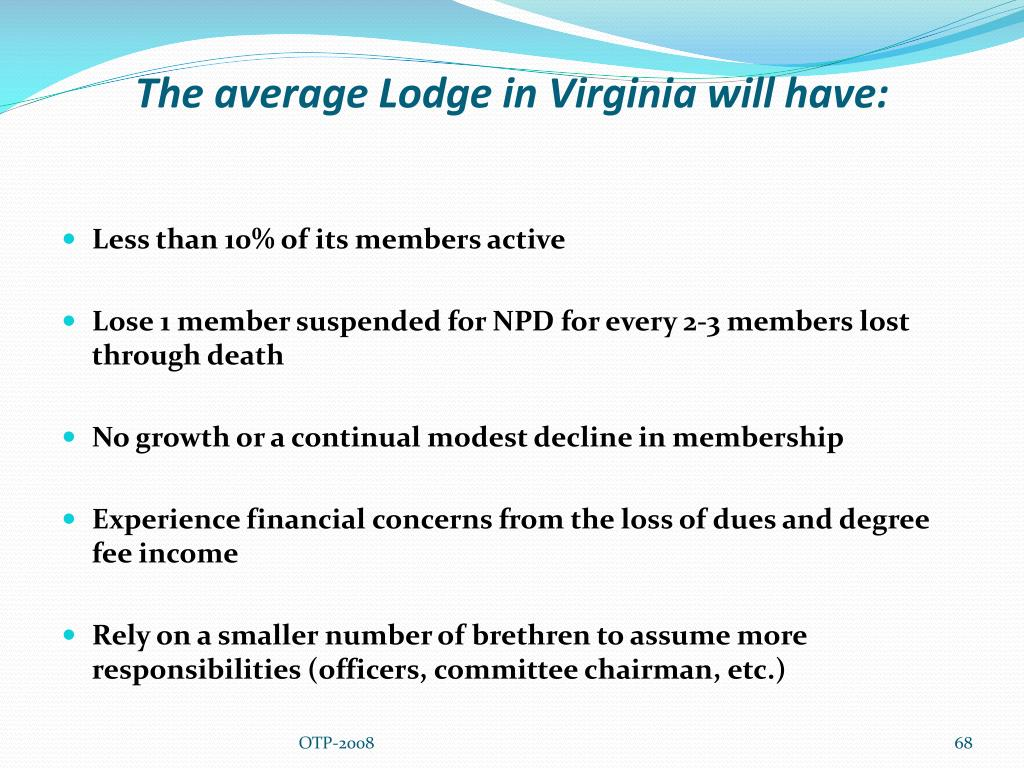 The average Lodge in Virginia will have: