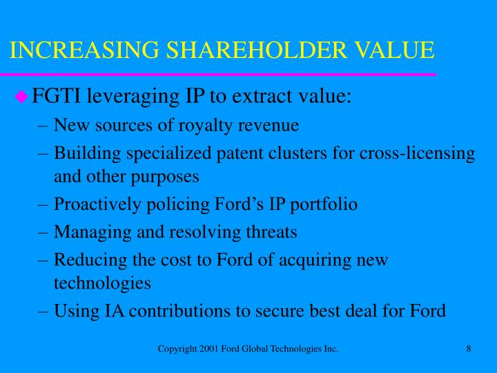 INCREASING SHAREHOLDER VALUE