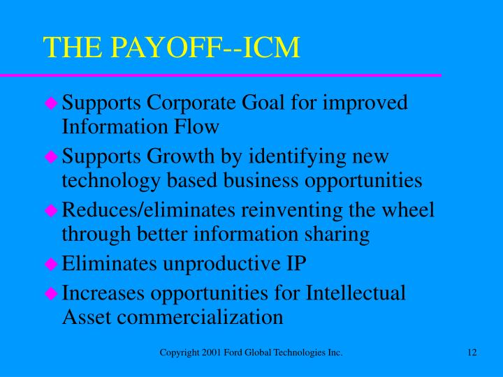 THE PAYOFF--ICM