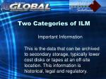 two categories of ilm15