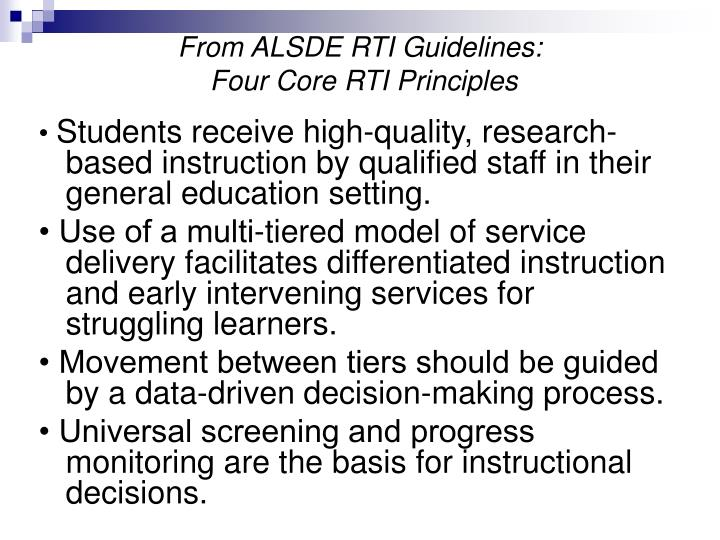From ALSDE RTI Guidelines: