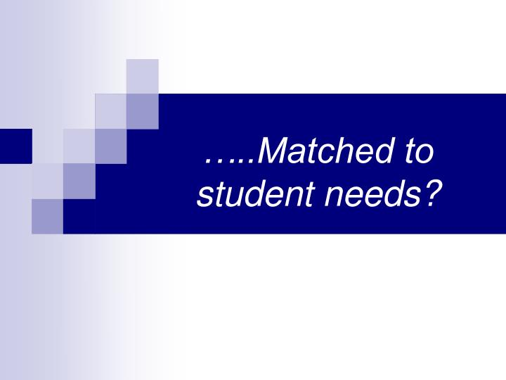 …..Matched to student needs?