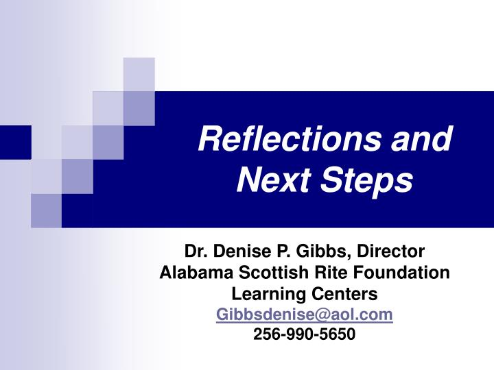 reflections and next steps