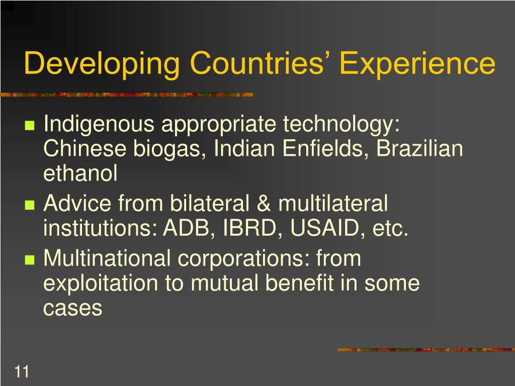 Developing Countries' Experience