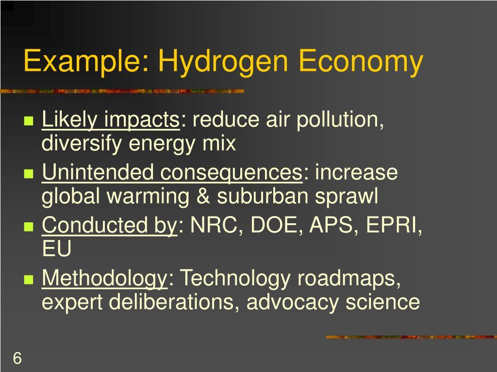 Example: Hydrogen Economy