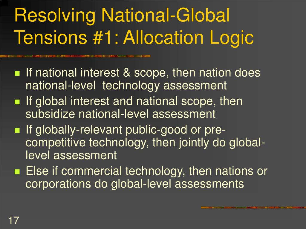 Resolving National-Global Tensions #1: Allocation Logic