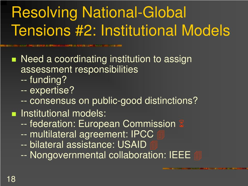 Resolving National-Global Tensions #2: Institutional Models